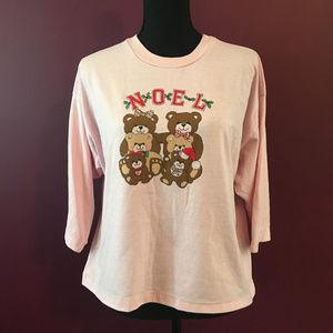 Christmas Pink Noel Bear Half-Sleeve Tee